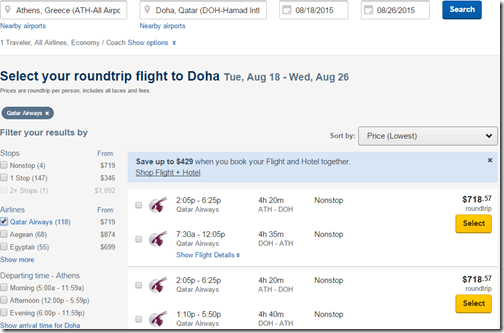 Qatar ATH-DOH $719USD-8-18-26-2015