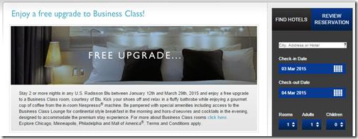 Rad Blu Biz Class free upgrade