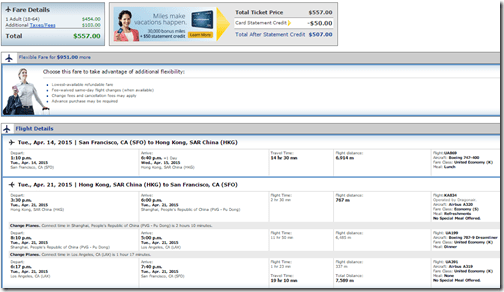 SFO-HKG UA $557 April 2015