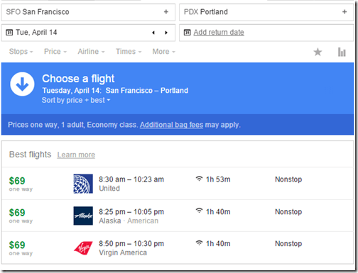 SFO-PDX $69 UA, AS, VX