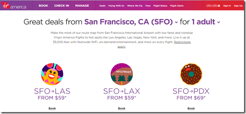 Virgin America SFO 2015 spring deals