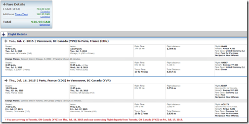 YVR-CDG Star July $725