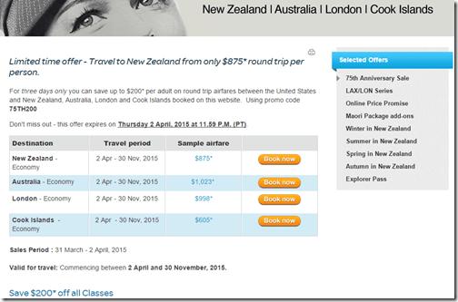 Air New Zealand 75 sale