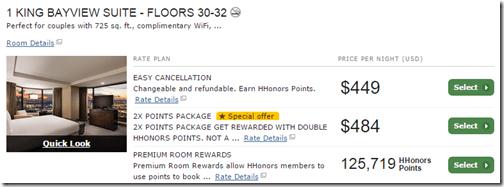 Hilton SF Bayview suite premium reward