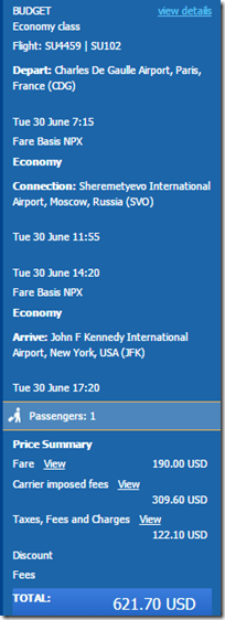 JFK-CDG $622 Aeroflot June15