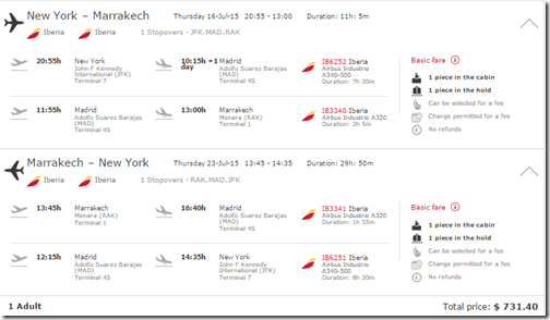 JFK-RAK Iberia $774 July15