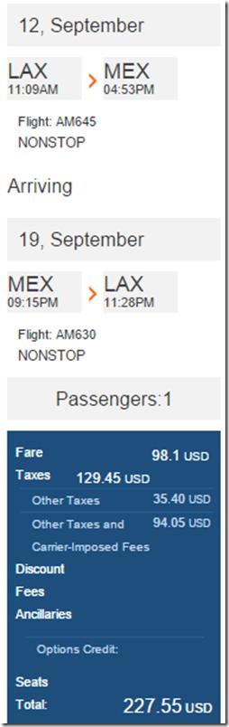 LAX-MEX $228 Aeromexico April-Dec