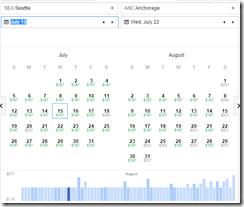SEA-ANC $197 google flights fare graph