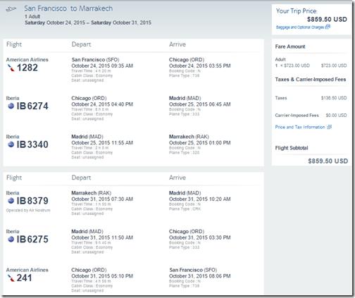 SFO-RAK Marrakesh $860 AA Oct15