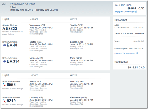 YVR-CDG AA June15 $915.51 CAD