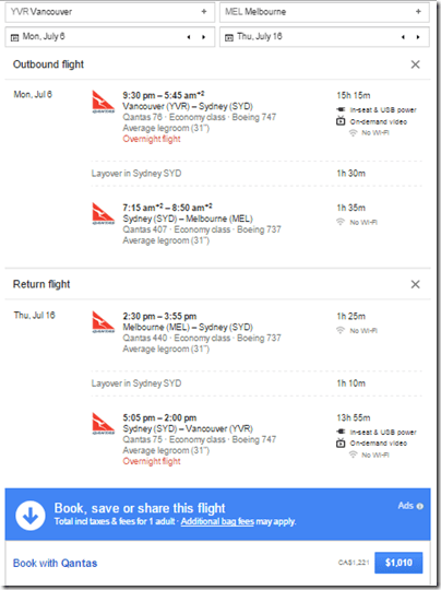 Google Flights YVR-MEL $1,010 USD Qantas