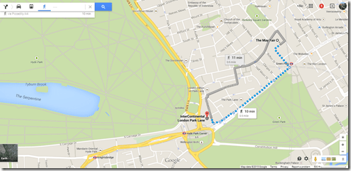 Google Maps London May Fair to IC Park Lane