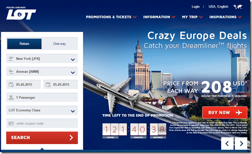 LOT Polish Airlines fall 2015 sale