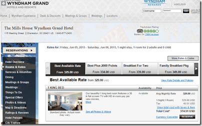 Mills House Charleston $375 rate
