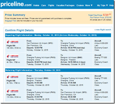 SFO-BKK $721 China Eastern