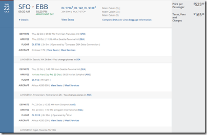 SFO-EBB $691 Delta Oct15