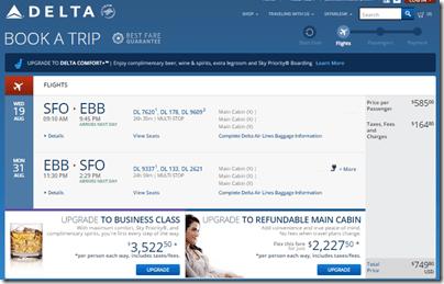 SFO-EBB Entebbe $750 DL August