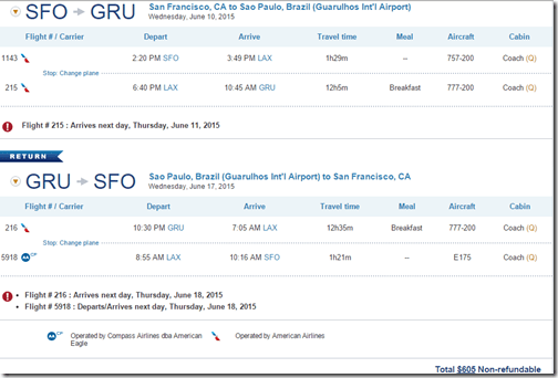 SFO-GRU $605 US June15