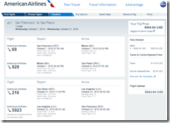 SFO-GRU AA Oct $665