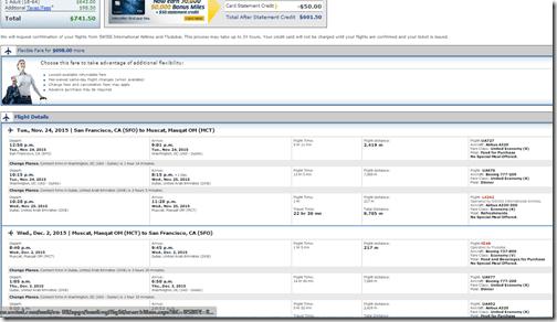 SFO-MCT Muscat $742 United Nov15