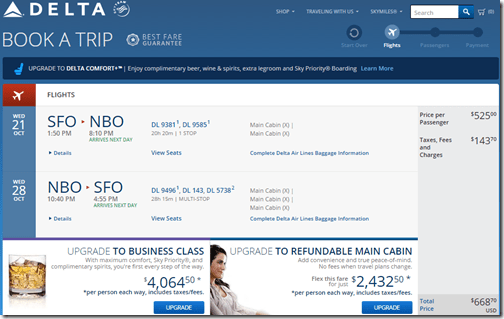 SFO-NBO DL $669 Oct 21-28