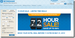 Wyndham 72-hour sale May15