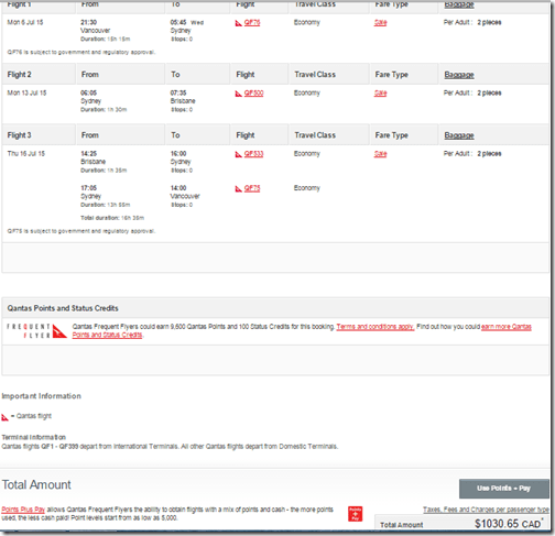YVR-BNE Qantas $1030 CAD July