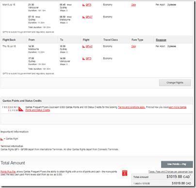YVR-MEL 1020 CAD Qantas JULY 15