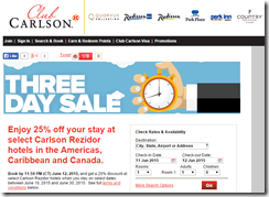 Club Carlson 3-day sale June15