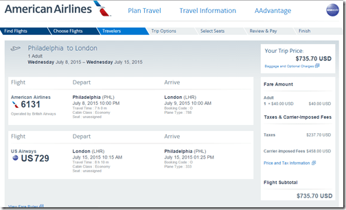 PHL-LHR $735 AA July 15