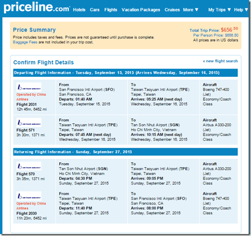 SFO-SGN $657 China Airlines Sep 15