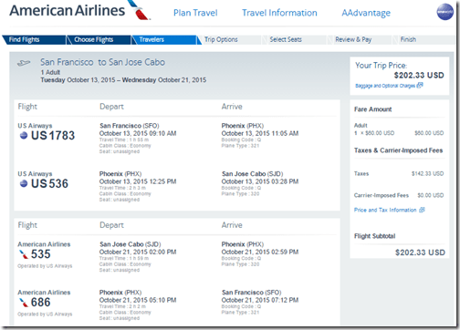 SFO-SJD AA $203 Oct15