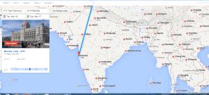 Google Flights San Francisco to Mumbai, India $795