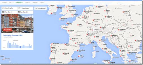 Google Flights tutorial Europe Map oneworld Sep9-19