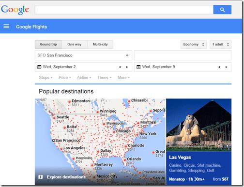 Google Flights tutorial-home