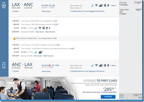 LAX-ANC DL $268 Aug15