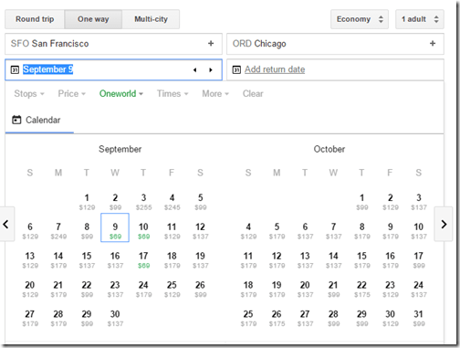 Google Flights SFO-ORD ow search