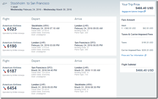 ARN-SFO $466 AA Feb24-Mar30-16