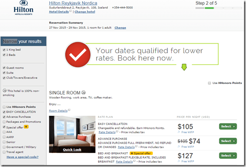 Hilton Reykjavik rates