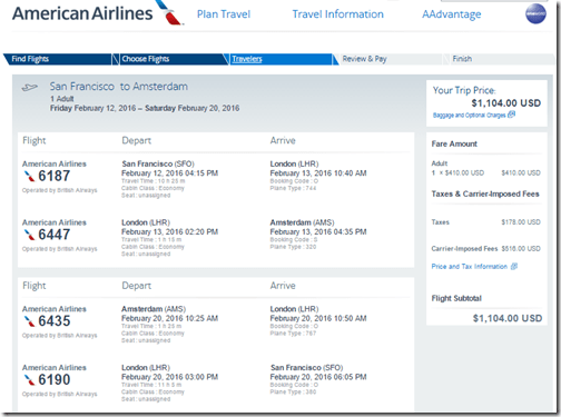 SFO-AMS AA $1,104 Feb 12-20