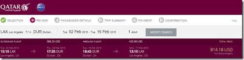Qatar LAX-DUR $815