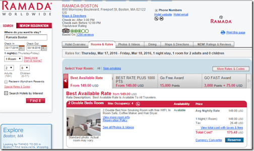 Ramada Boston $149