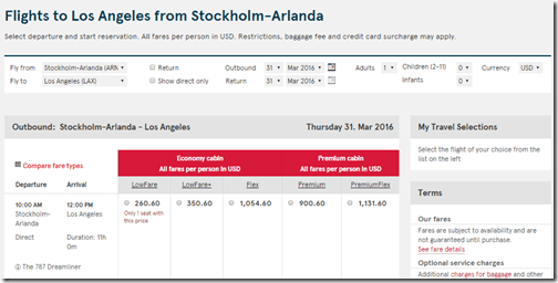 ARN-LAX Norwegian $261