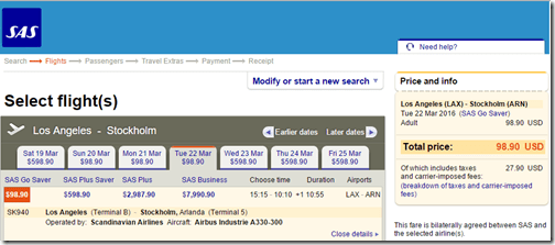 LAX-ARN SAS $98.90 Mar22
