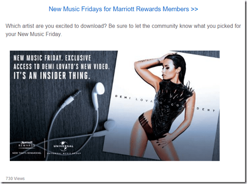 Marriott Rewards Insiders New Music Friday