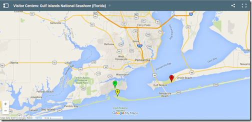Google Maps Gulf Islands visitor centers Pensacola