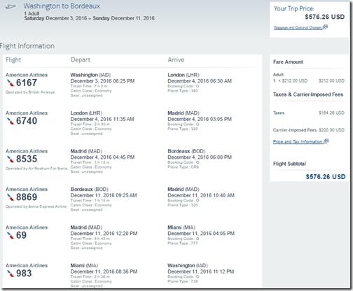 IAD-BOD $577 AA Dec 3-11