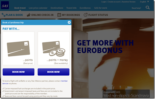 SAS Eurobonus reward types
