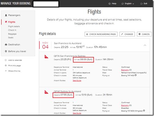 Qantas SFO-SKL itinerary