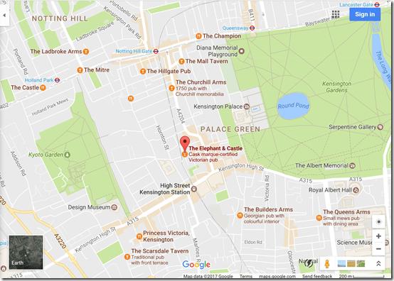 Google Maps Kensington pubs